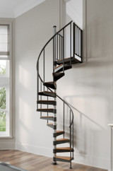 steel spiral stair kit in living room with wood treads
