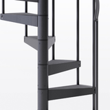 all black steel spiral staircase with adjustable height