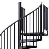 black aluminum handrail code compliant spiral staircase kit