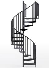 "adjustable height 60"" diameter spiral staircase black steel"