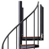 black steel with wood steps spiral staircase with adjustable height
