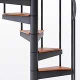black aluminum handrail spiral staircase kit with wood treads