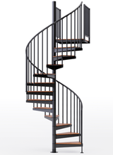 """adjustable height 60"""" diameter spiral staircase black steel with wood treads"""