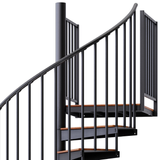 black steel with wood steps code spiral staircase with adjustable height