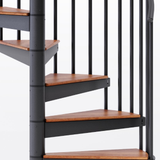 black aluminum handrail code compliant spiral staircase kit with wood treads