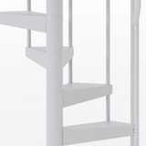 all white steel spiral staircase with adjustable height