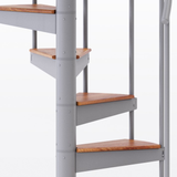 white aluminum handrail spiral staircase kit with wood treads