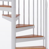 white aluminum handrail code compliant spiral staircase kit with wood treads