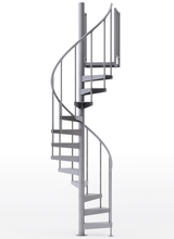 "adjustable height 42"" diameter spiral staircase grey steel"