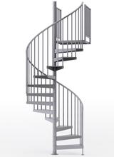 "adjustable height 60"" diameter spiral staircase gray steel"