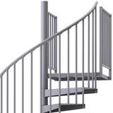 grey aluminum handrail spiral staircase kit