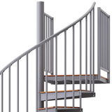 code gray steel with wood steps spiral staircase with adjustable height