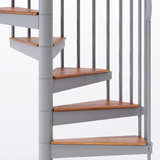 gray aluminum handrail code compliant spiral staircase kit with wood treads