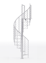 all white steel spiral staircase kit with line rail