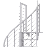 modern white steel spiral staircase with wedge platform