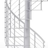 modern line rail on all steel white spiral staircase