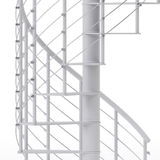 modern line rail on all steel white spiral staircase