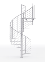 all white steel code spiral staircase kit with line rail