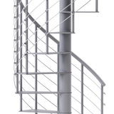 modern gray steel spiral staircase with wedge platform