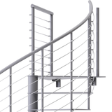 modern gray steel code spiral staircase with wedge platform