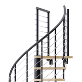 black steel spiral staircase with laminate wood treads with wedge platform