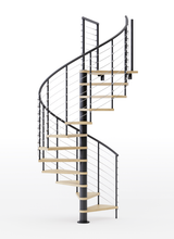 black steel code spiral staircase with laminate wood treads