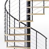 code compliant black steel spiral staircase with laminate wood treads and anti slip tape