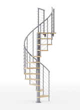 gray steel spiral staircase with laminate wood treads