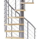 gray steel spiral staircase kit with laminate wood treads and line rail