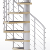 White steel spiral staircase with laminate wood treads and anti slip tape
