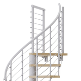 white steel spiral staircase with laminate wood treads with wedge platform