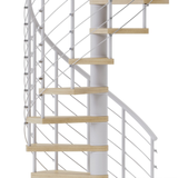 white steel spiral staircase kit with laminate wood treads and line rail