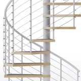 White steel code compliant spiral staircase with laminate wood treads and anti slip tape