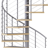 code gray steel spiral staircase with laminate wood treads and anti slip tape
