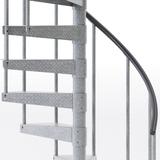 galvanized outdoor spiral staircase with vinyl handrail