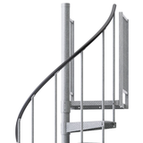 diamond plate outdoor spiral staircase with vinyl handrail