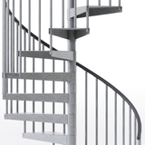 galvanized outdoor code compliant spiral staircase with vinyl handrail