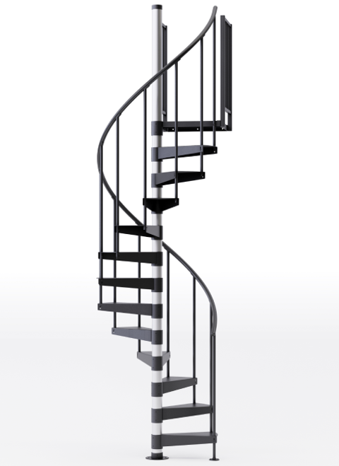 Reroute Black 3'6 Steel Spiral Stair Kit