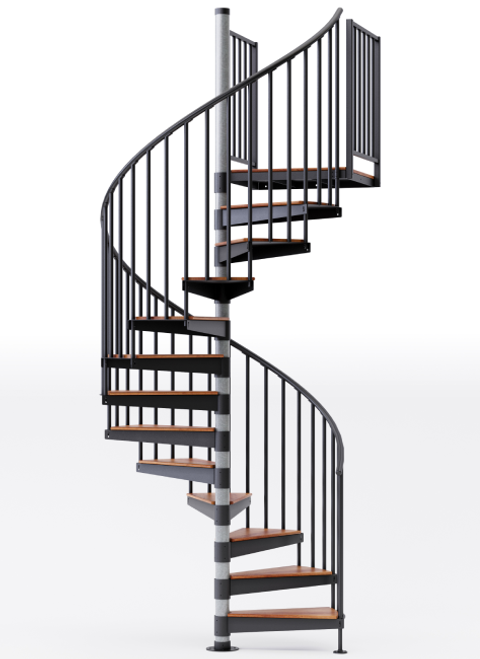 in stock code black primed spiral staircase with wood treads and vinyl handrail