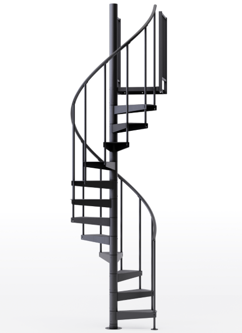 "adjustable height 42"" diameter spiral staircase black steel"