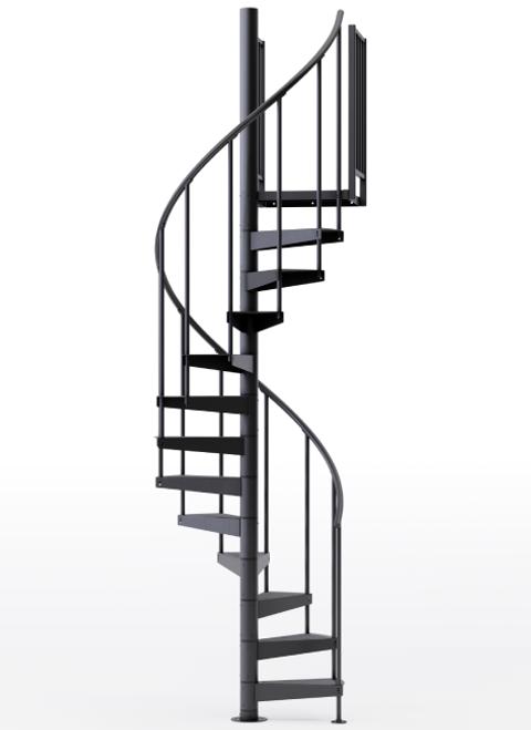 "adjustable height 42"" diameter spiral staircase black steel"