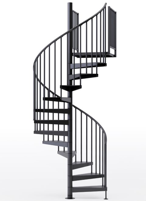 "adjustable height 60"" diameter spiral staircase black steel"