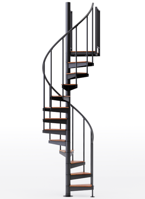 "adjustable height 42"" diameter spiral staircase black steel with wood treads"