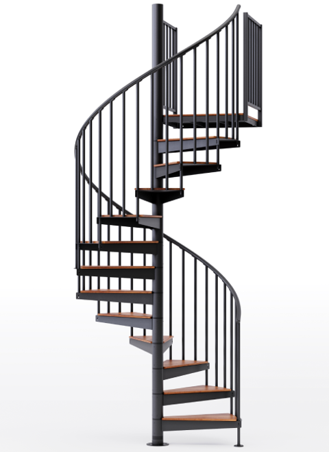 "adjustable height 60"" diameter spiral staircase black steel with wood treads"