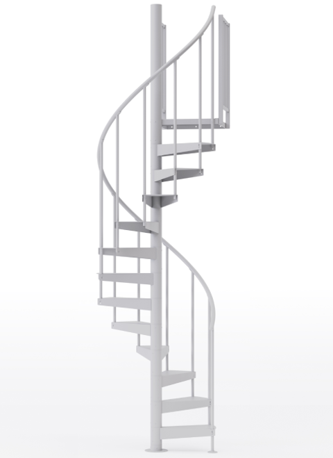 "adjustable height 42"" diameter spiral staircase white steel"