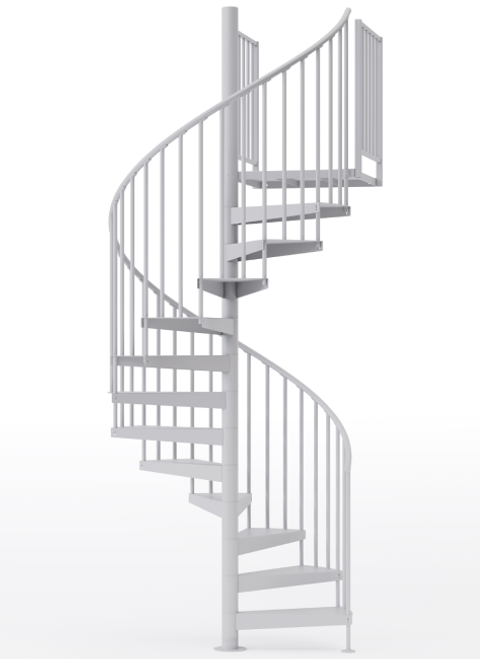 "adjustable height 60"" diameter spiral staircase white steel"
