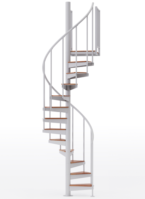 "adjustable height 42"" diameter spiral staircase white steel with wood treads"