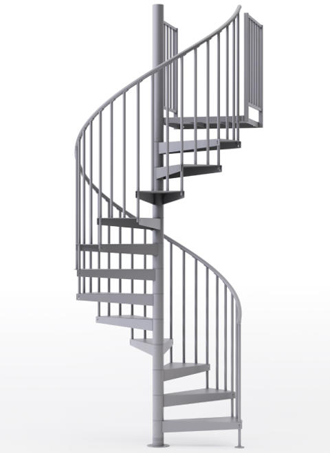 "adjustable height 60"" diameter spiral staircase gray steel"