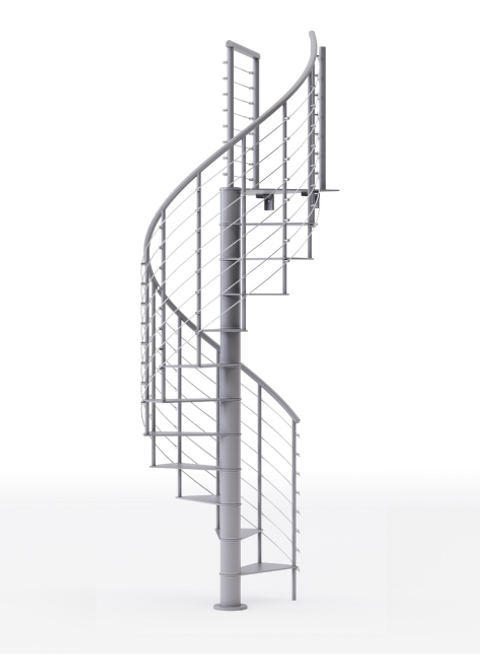 all gray steel spiral staircase kit with line rail