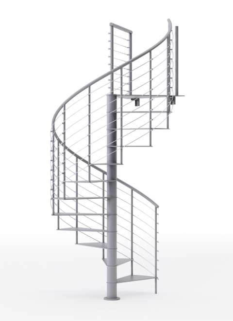 all gray steel code spiral staircase kit with line rail